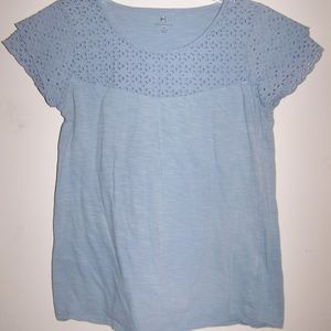 WOMENS LACE TOP SMALL BLUE SHORT SLEEVE